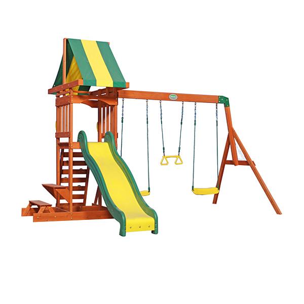 La structure de jeux Sunnydale comprend de nombreux éléments qui feront le bonheur des enfants qui pourront jouer à l´extérieur en se dépensant. Cet ensemble comprend deux balançoires, une barre de trapèze, un toboggan de 244 cm de long avec de hauts coté