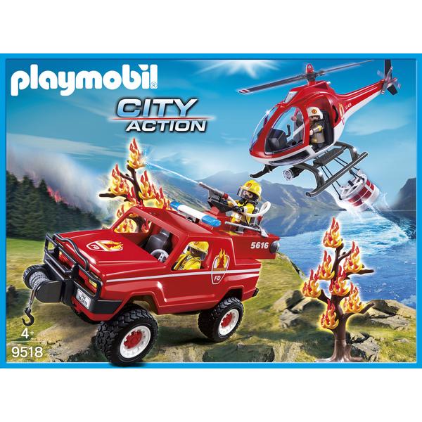 9518 Hélicoptère Et Pompiers Playmobil De Action 4x4 City SMUpzqV
