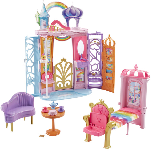 Barbie ch teau arc en ciel transportable mattel king - Chateau de barbie ...