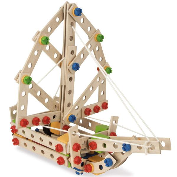 Jeu de construction bois - helicoptère 5 en 1 - 225 pièces bois