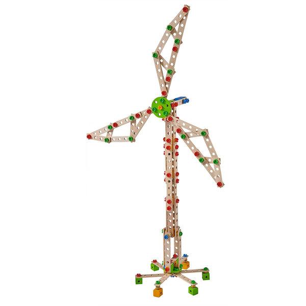 Jeu de construction en bois Eichhorn Constructor 300 pièces éolienne