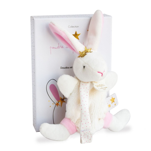 Doudou attache sucette lapin fleurs