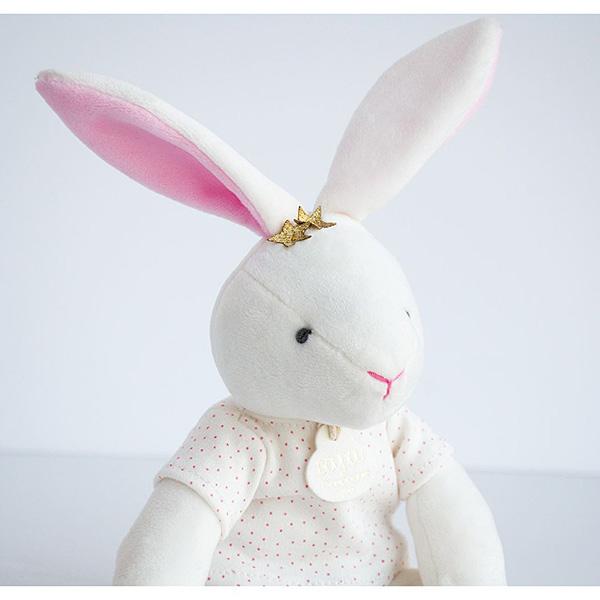 Doudou pantin lapin fleurs