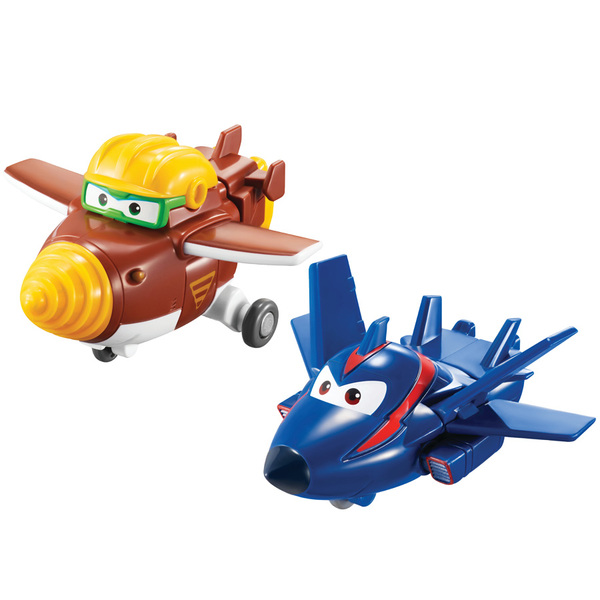 Super Wings Asst de 2 figurines-véhicules transformable