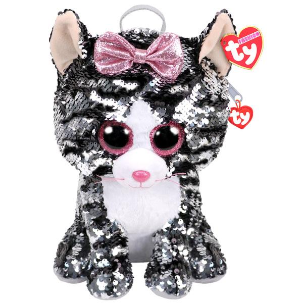 Sac à dos peluche sequins Kiki le chat 30 cm