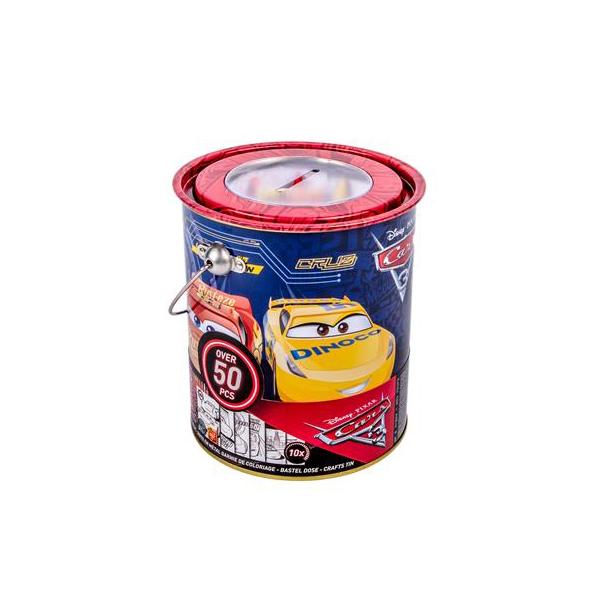 Seau métal papeterie 50 pièces Disney Cars 3