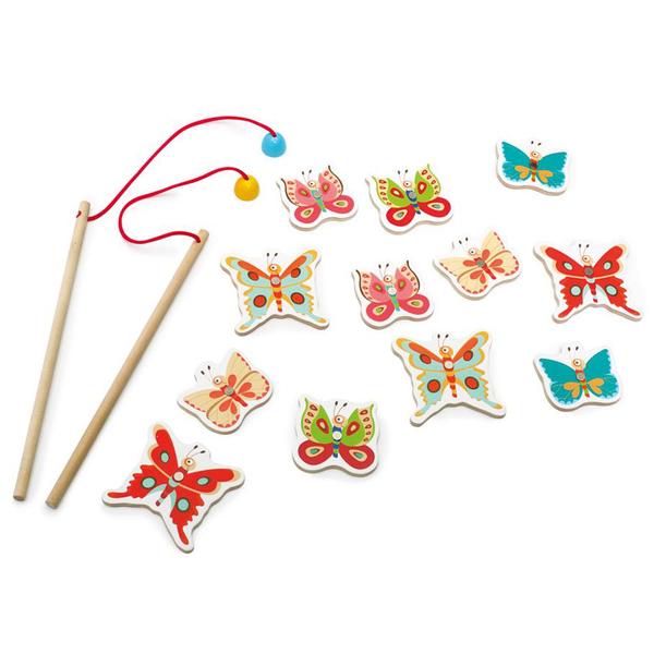 Jeu de papillons 3 en 1 - Jeu de pêche - Dominos - Mémo