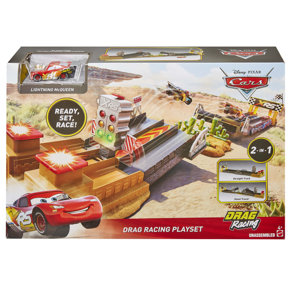 Disney Cars - Coffret Drag racing XRS et petite voiture Flash McQueen XRS Drag Racing