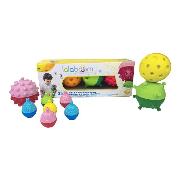 Lalaboom 3 balles sensorielles et 6 perles