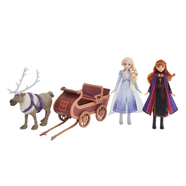 Poupées Anna Elsa et Sven et son traineau La Reine des Neiges 2