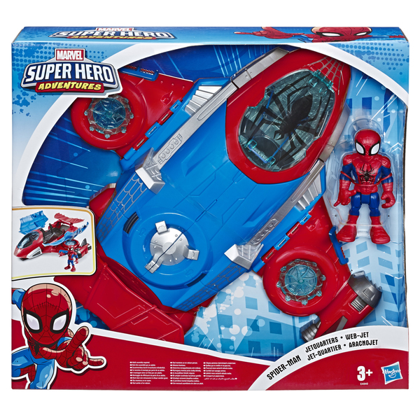 Figurine Spiderman 12 cm et son Jet Quartier - Marvel Super Hero Adventures