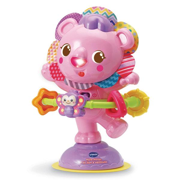 Hochet Hula-Hoop p'tit lion à ventouse rose