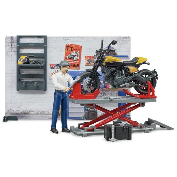Coffret mécanicien avec moto miniature