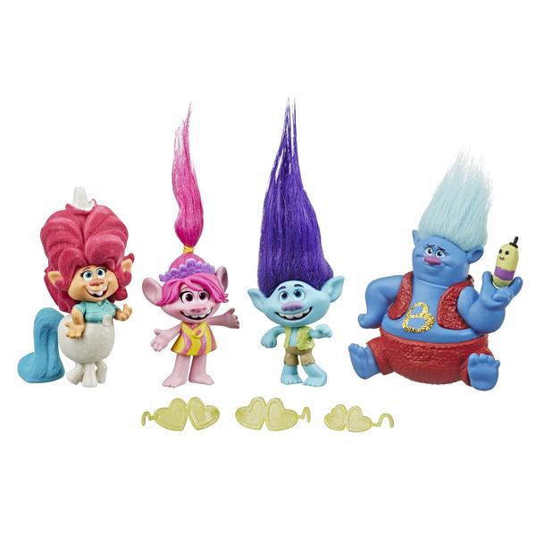 Pack 4 mini-poupées Trolls