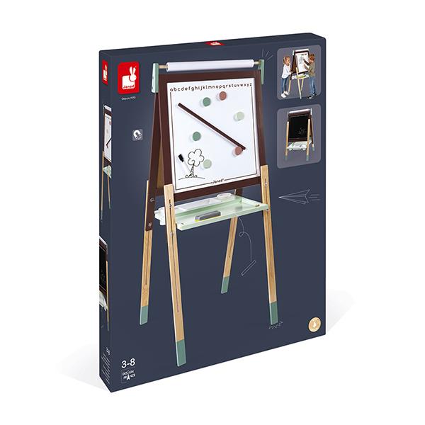 Tableau réglable en bois ardoise et magnétique - marron
