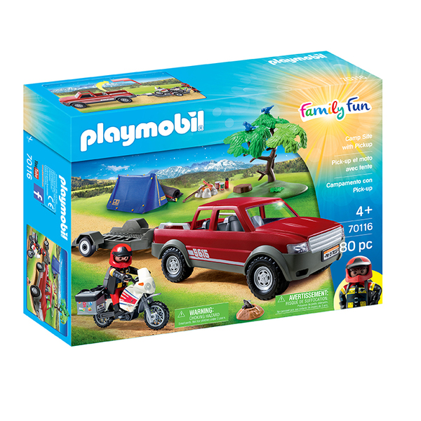 70116 - Playmobil Family Fun - Pick-up et moto avec tente