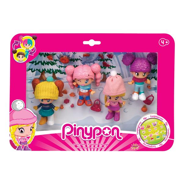 4 figurines Pinypon sport d'hiver