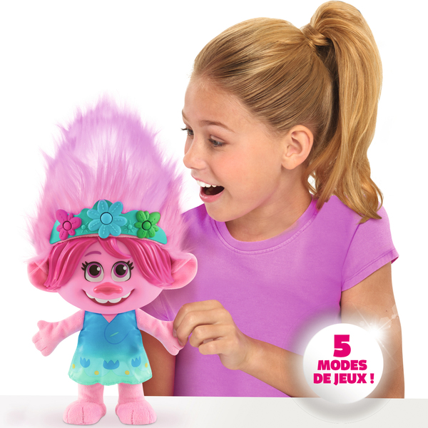 Peluche interactive Poppy cheveux multicolores 35 cm