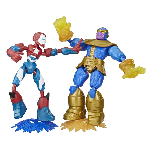 Pack 2 figurines Iron Patriot et Thanos 15 cm Bend and Flex - Marvel
