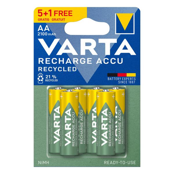 Piles rechargeables VARTA LR06 AA 2100 mAH 5+1 gratuite