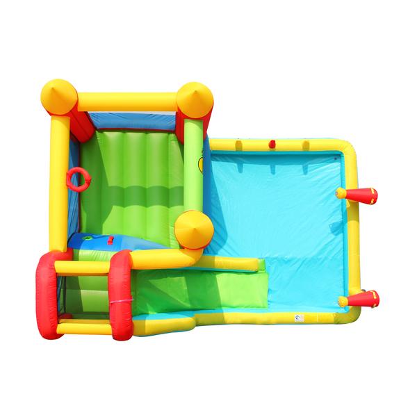 Château gonflable avec toboggan et piscine