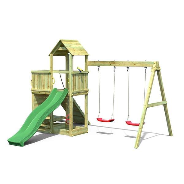 Aire de jeu avec double balançoire, toboggan et mur d'escalade - FLOPPI