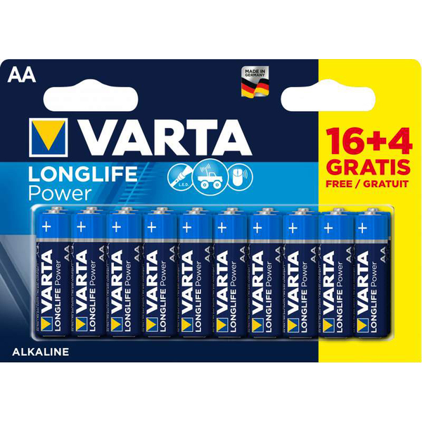 Piles Alcalines AA/LR06 LongLife Power 16 + 4 gratis