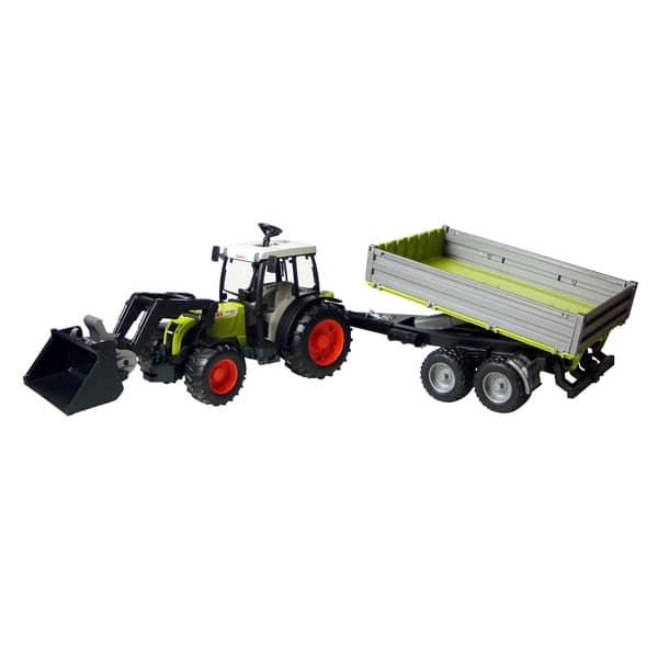 Tracteur class avec fourche et remorque bruder king jouet v hicules de chantier et tracteurs - Tracteur avec fourche ...