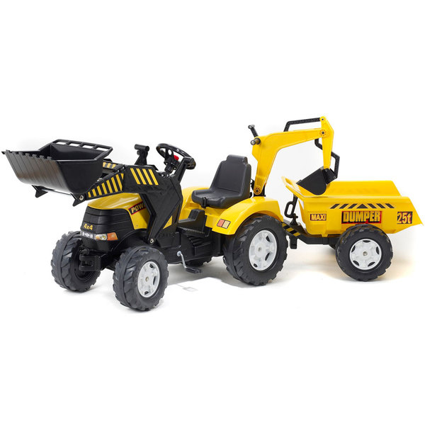 tracteur power avec excavatrice et remorque falk king jouet voitures p dales falk sport. Black Bedroom Furniture Sets. Home Design Ideas